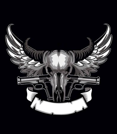 Bull gun logo with wings in vector