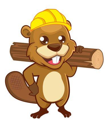 Beaver mascot cartoon in vector