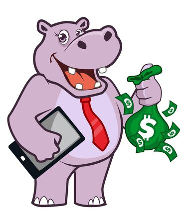hippopotamus mascot cartoon in vector