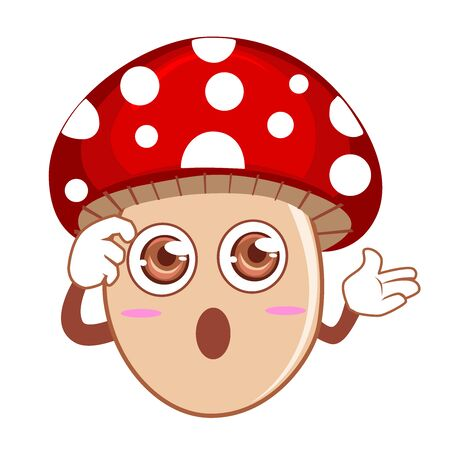 Mushroom red mascot cartoon in vector Illustration