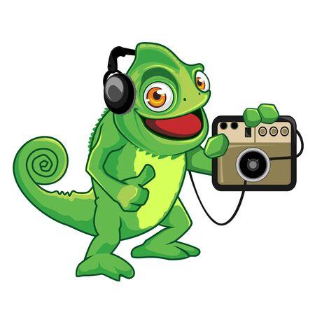 Chameleon mascot cartoon in vector