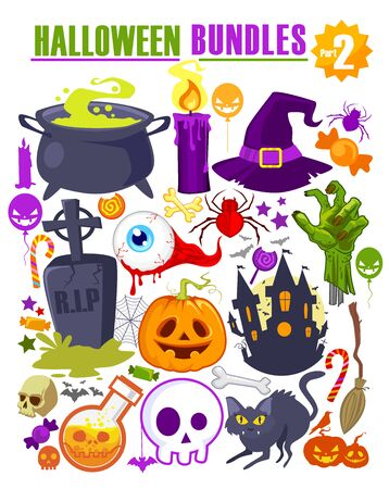 Halloween bundles mascot icon cartoon in vector