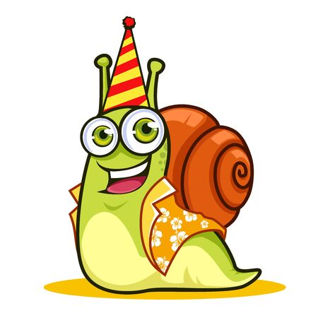 Snail mascot cartoon in vector