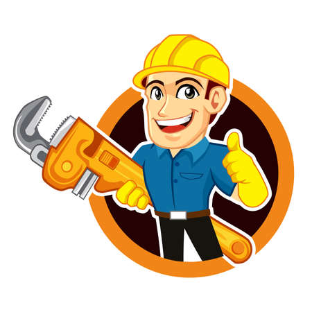 plumber worker logo mascot cartoon in vector