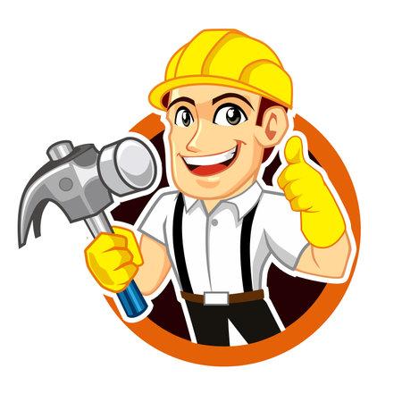 plumber worker logo mascot cartoon in vector Logo