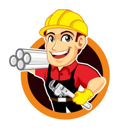 plumber worker logo mascot cartoon in vector