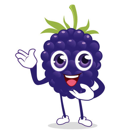 blueberry fruit mascot cartoon in vector