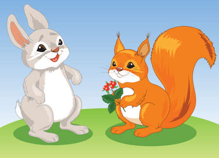 Squirrel and hare in a clearing. squirrels have berries in their paws. Rabbit