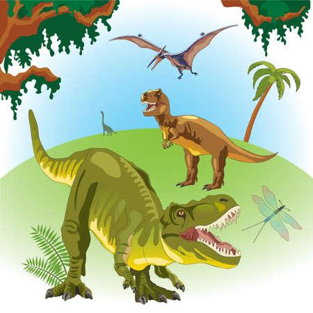 Dinosaurs on a landscape background. Prehistoric era. Mesozoic era. Tyrannosaurus Rex green. A pterodactyl flies in the sky. T-Rex. Fern, palm, creepers.