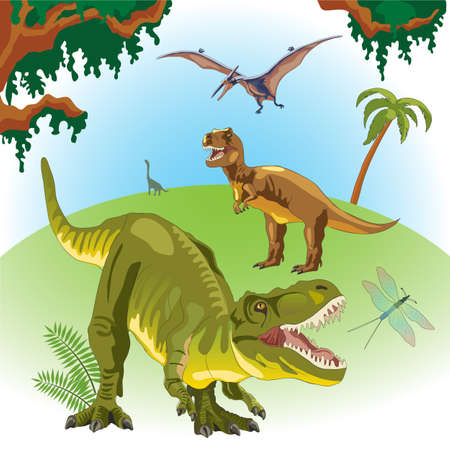 Dinosaurs on a landscape background. Prehistoric era. Mesozoic era. Tyrannosaurus Rex green. A pterodactyl flies in the sky. T-Rex. Fern, palm, creepers.