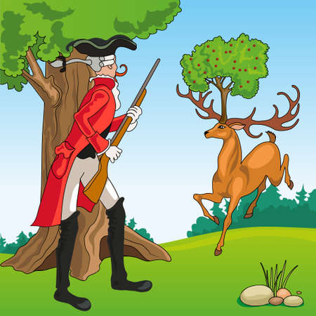 Baron Munchausen saw a deer in the forest, with a cherry tree between its horns
