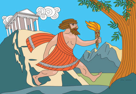 Gods of Olympus. Greek myths and legends. Prometheus stole fire from the gods on Olympus and brings fire to people. Prometheus runs with a torch in his hand.