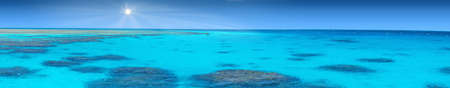 Blue coral water of a Red Sea panoramic photo