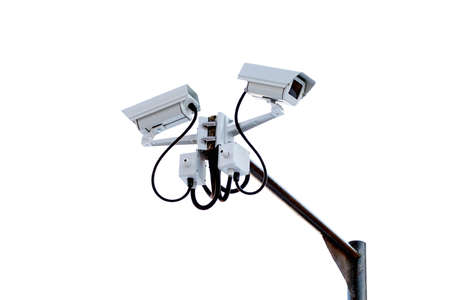 close circuit camera: Security camera on white background
