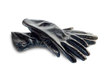 elementos de protección personal: Guantes negros aislados en un fondo blanco