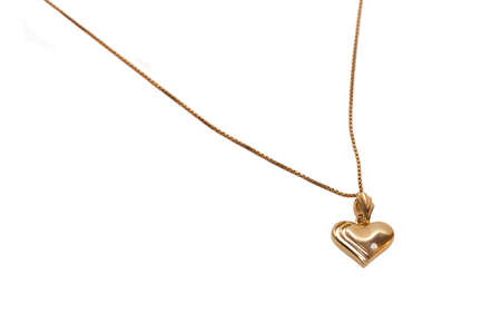 golden necklace isolated on a white background photo