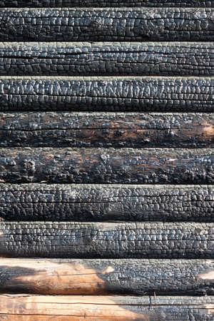 burned timber wall  photo