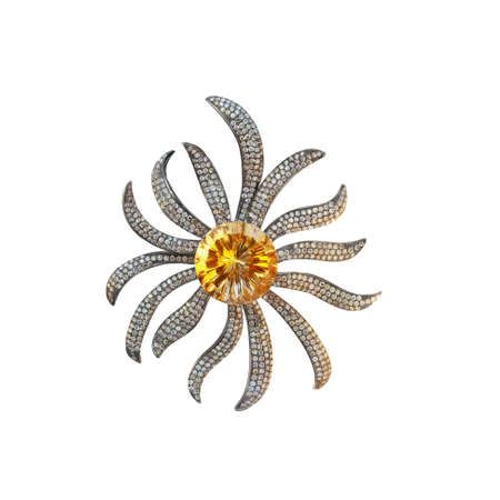 brooch black gold with citrine and diamonds photo