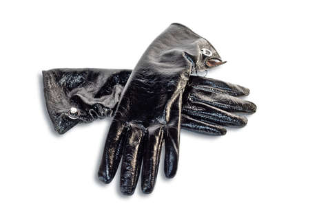 Black gloves isolated on a white background photo