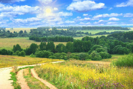 over the hill: oil painting, hilly summer landscape with country road