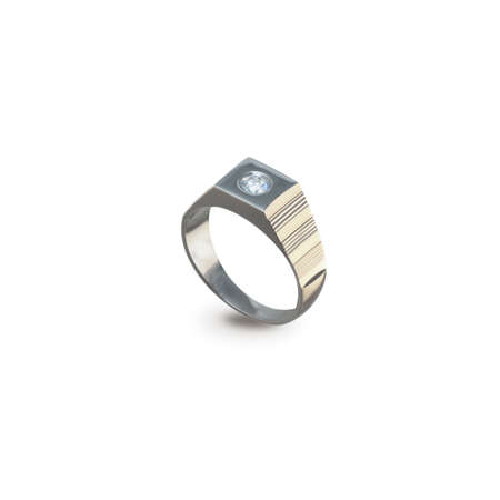 jewell: Golden ring with diamonds on a white