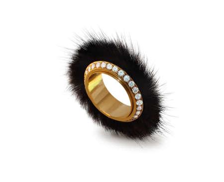 visone: anello d'oro con diamanti e visone