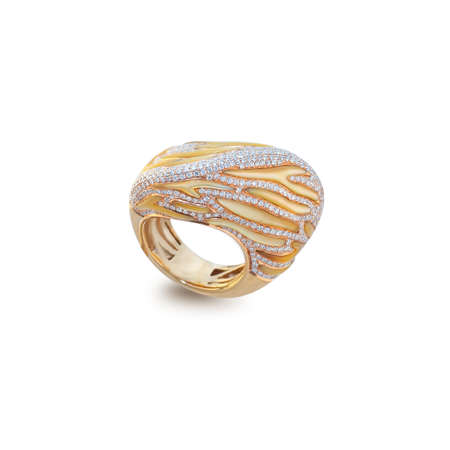 faceting: golden ring with diamonds on a white Stock Photo