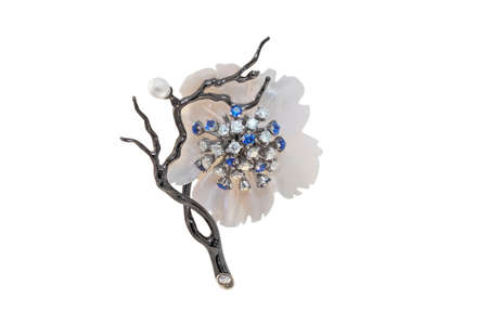 coulomb: golden brooch with pearls, sapphires and diamonds