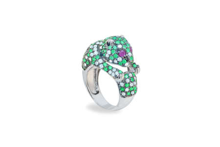 jewell: golden ring with emeralds and diamonds Stock Photo