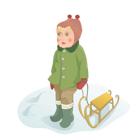 sledging: Baby girl stands on the snow with sled. Handmade drawing vector illustration.
