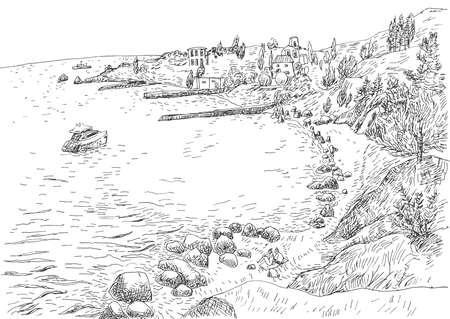 Sea coast with piers and rocky shore in the Crimea. Monochrome freehand ink drawn backdrop sketchy in art doodle style pen.