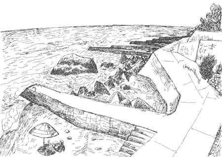 crimea: Sea coast with piers and rocky shore in the Crimea. Monochrome freehand ink drawn backdrop sketchy in art doodle style pen.