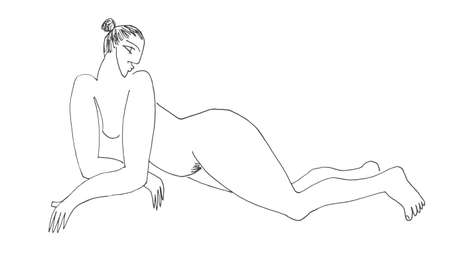 naked women: hand drawn sketch of a full body naked woman lying