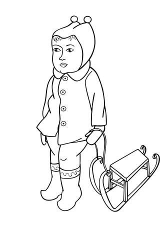 sledging: Baby girl stands with sled. Page to be color vector illustration. Contour for coloring book. Illustration
