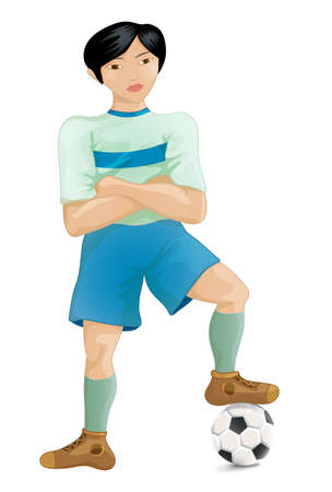 southeast: Soccer player of the South-East Asia pose a winner, cartoon character vector illustration Illustration