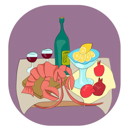 tagline: Lobster with wine, lemon and pomegranates still life with enjoy your meal tagline flat vector illustration