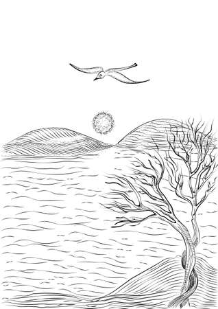 hilly: landscape with tree on a hilly sea shore and flying seagull. Monochrome freehand ink drawn sketch in art doodle style pen.