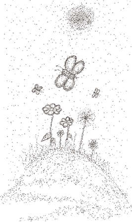scattering: Floral meadow with butterflies. Landscape with scattering of points style Illustration