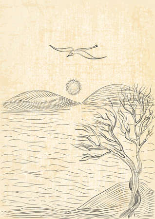 hilly: landscape with tree on a hilly sea shore and flying seagull. Monochrome freehand ink drawn sketch in art doodle style pen with canvas background.