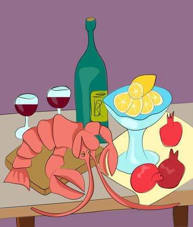 aperitif: Lobster with wine, lemon and pomegranates still life with enjoy your meal tagline flat vector illustration