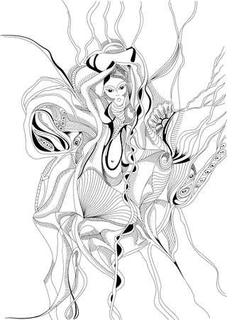 bailarinas arabes: Dibujado a mano y el estilo de dibujo chica bailando la danza del vientre. Diseño gráfico abstracto, se puede utilizar para las tarjetas de carteles, pegatinas, ilustraciones, como elemento decorativo.