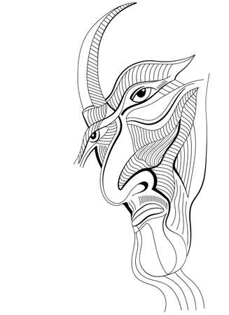 Face a villain in abstract style. Hand drawn graphic design, can use for posters cards, stickers, illustrations, as decorative element.