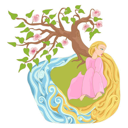 river bank: Dreamy girl with long hair on the river bank. Fairy story for stickers, posters and illustrations of childrens books. Illustration
