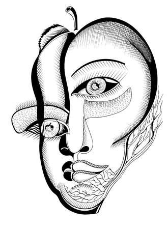 caras dibujo a mano surrealista, abstracto plantilla con los esquemas negros, se pueden utilizar para las tarjetas de carteles, pegatinas, ilustraciones, como elemento decorativo.