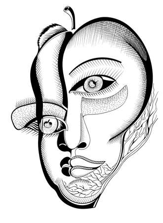 Surreal hand drawing faces, abstract template with black outlines, can use for posters cards, stickers, illustrations, as decorative element.