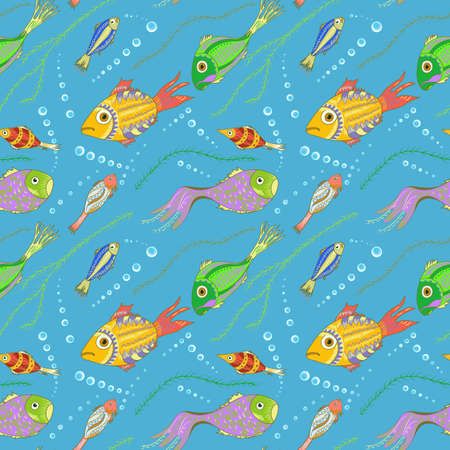 oceanside: seamless pattern with hand drawn fishes, seaweeds and bubbles. Tropical sea life design for cloth, web, wallpaper, wrapping.