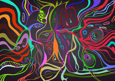 bifurcation: Colorful vivid of a young woman face in abstract style, psychedelic surreal poster. Illustration