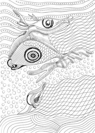 Surreal hand drawing whale and fish, abstract template with black outlines, can use for posters cards, stickers, coloring book, as decorative element.