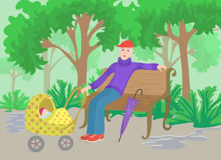 stroll: Man with child in pram sitting on a park bench after rain, cartoon illustration.