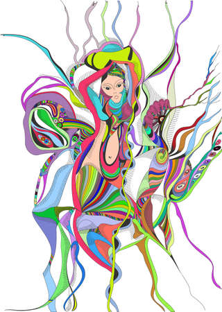 Surreal hand drawing girl dancing belly dance. Abstract graphic design, can use for posters cards, stickers, illustrations, as decorative element. Vetores